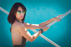 Summer woman with sunglasses Royalty Free Stock Image