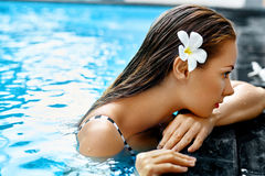 Summer. Woman In Swimming Pool Water. Spa. Body Care, Beauty Stock Photos