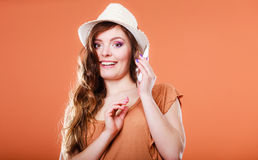 Summer woman talking on mobile phone. Royalty Free Stock Image