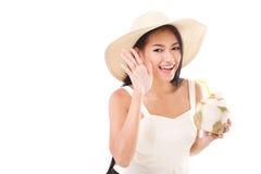 Summer woman telling you something. White isolated background royalty free stock images