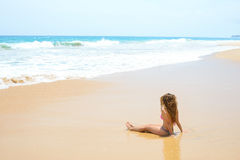 Summer woman on tropical beach stock images