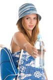 Summer woman with with water royalty free stock photos