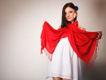 Summer woman in white dress with red shawl. Fashion Royalty Free Stock Photo