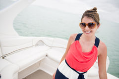 Summer woman in a yacht Stock Image