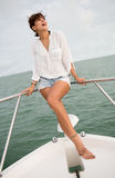 Summer woman on a yacht Royalty Free Stock Photo