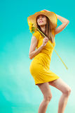 Summer woman in yellow dress with sunflower Royalty Free Stock Image