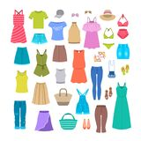 Summer women casual clothes and accessories Royalty Free Stock Photos