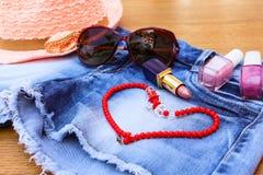 Summer women's accessories Stock Photos