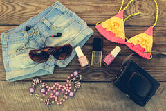 Summer women's clothing and accessories for your sea holiday. Stock Image