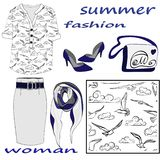 Summer women`s fashion set isolated on white background and seamless pattern royalty free illustration
