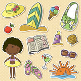 Summer women's vacation. Cute happy African-American girl with summer vacation objects Stock Images