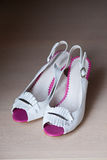 Summer womens fashion sandal on white wooden Stock Photos