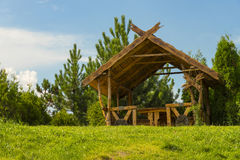 Summer wooden arbor. Royalty Free Stock Photos