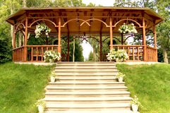 Summer wooden arbour. With a parade stairs Royalty Free Stock Images