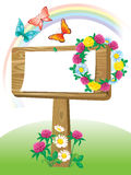 Summer wooden notice board Royalty Free Stock Images
