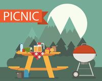 Wooden Picnic Table on Mountain Background Stock Photo