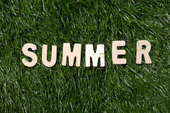 Summer Wooden Sign On Grass Royalty Free Stock Photo