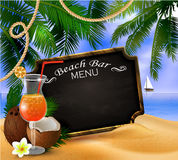 Summer wooden sign on tropical beach background Royalty Free Stock Photo