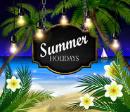 Summer wooden sign on tropical beach background Stock Image
