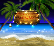 Summer wooden sign on tropical beach background Stock Images
