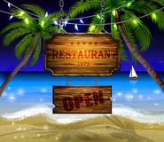 Summer wooden sign on tropical beach background Royalty Free Stock Photography