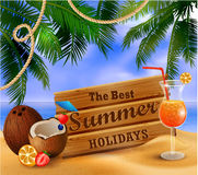 Summer wooden sign on tropical beach background Stock Photo