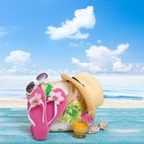 Summer, wooden walkway, beach accessories mock for Royalty Free Stock Images