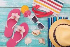 Summer, wooden walkway, beach accessories mock for Stock Photo