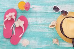Summer, wooden walkway, beach accessories mock for Royalty Free Stock Image