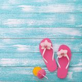 Summer, wooden walkway, beach accessories mock up Royalty Free Stock Photo