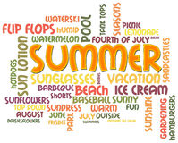 Summer Word Cloud Stock Photography