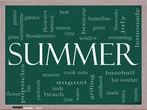 Summer Word Cloud Concept on a Blackboard. Summer Word Cloud Concept on a Chalkboard with great terms such as season, fireworks, swimming, baseball, warm, heat Stock Photos