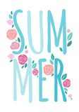 SUMMER word composition with roses and leaves - Royalty Free Stock Images