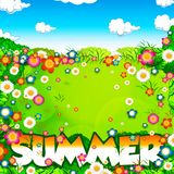 Summer word, flowers meadow and sky Royalty Free Stock Image