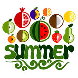 Summer word with fruit Royalty Free Stock Photo