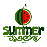 Summer word with fruit, watermelon Stock Photography
