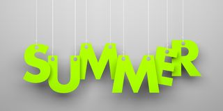Summer word hanging on a strings Royalty Free Stock Photography