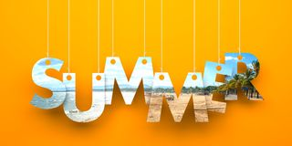 Summer word hanging on a strings Stock Photography