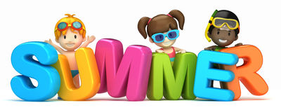 Summer word and kids vector illustration