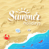 Summer word lettering on beach background Stock Images