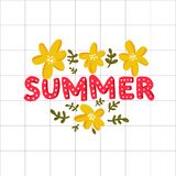 Summer word - lettering inscription and hand drawn yellow flowers on white squared paper background. Stock Photos