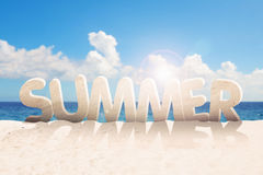 Summer word made of sand Royalty Free Stock Images