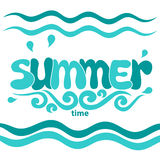 Summer word, sea and wave. Vector illustration Royalty Free Stock Images