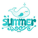 Summer word, sea, wave and whale Stock Images