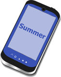 Summer word on smart phone screen, holiday concept Royalty Free Stock Image
