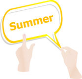 Summer word on speech bubbles and people hand Stock Images