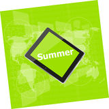 Summer word on tablet pc screen, digital touch screen, holiday concept, summer card Royalty Free Stock Images