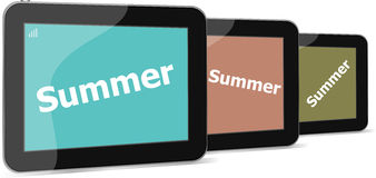 Summer word on tablet pc screen, holiday Stock Photography