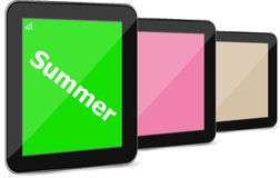 Summer word on tablet pc screen, holiday Royalty Free Stock Photos