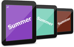 Summer word on tablet pc screen, holiday concept Stock Image